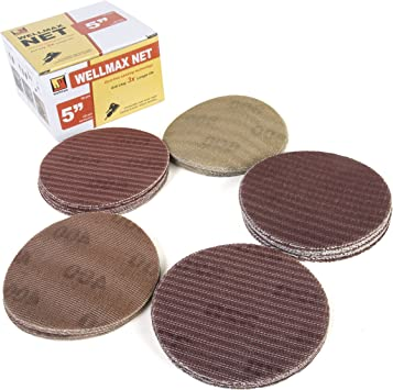 50, Grit 240 125mm Sanding Discs 5 Sandpaper 8 Hole Hook and Loop Wood /& Automotive Pads