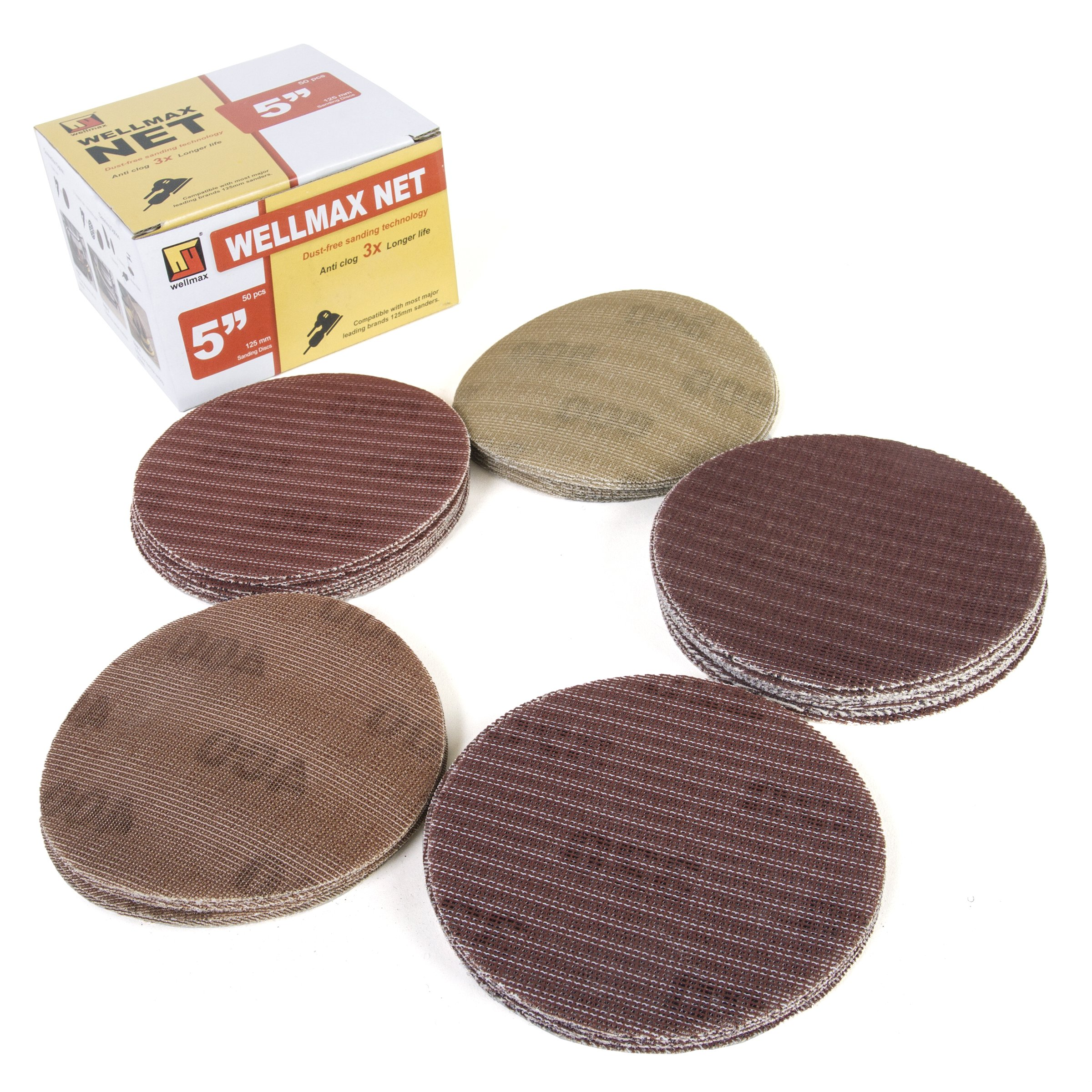 Wellmax 50 pcs Sand Paper disc | Gold 5-Inch Dustless hooks and loop | Grits assortment | Compatible with most leading sander and sandpaper | Grit 200/320/400/600/800 Sanding Disk Pads