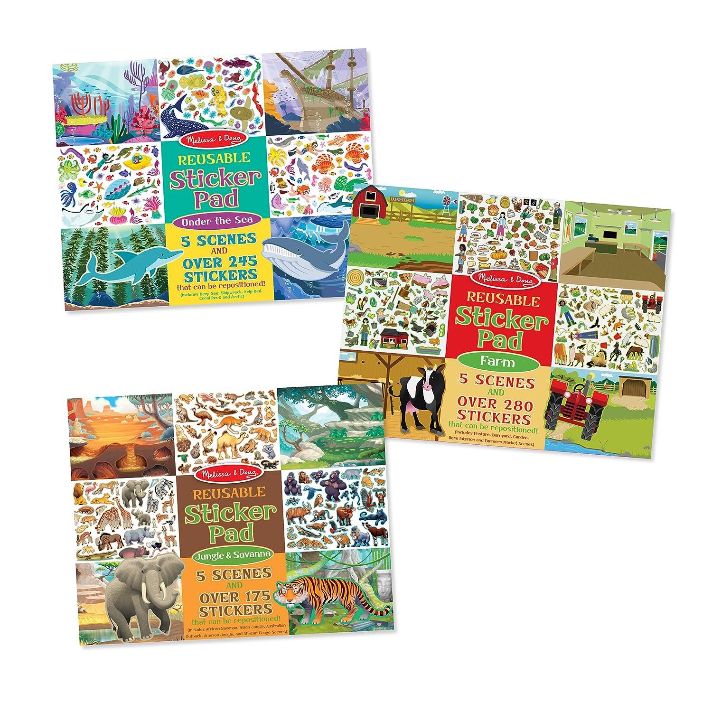 Melissa Doug Reusable Jungle Savanna Farm Under The Sea Sticker Pad 3 Pack