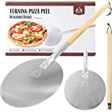 """Aluminum Turning Pizza Peel Paddle, 9 inch diameter Blade, Long 31.5"""" Handle with Leather Strap - Outdoor Pizza Oven Accessor"""