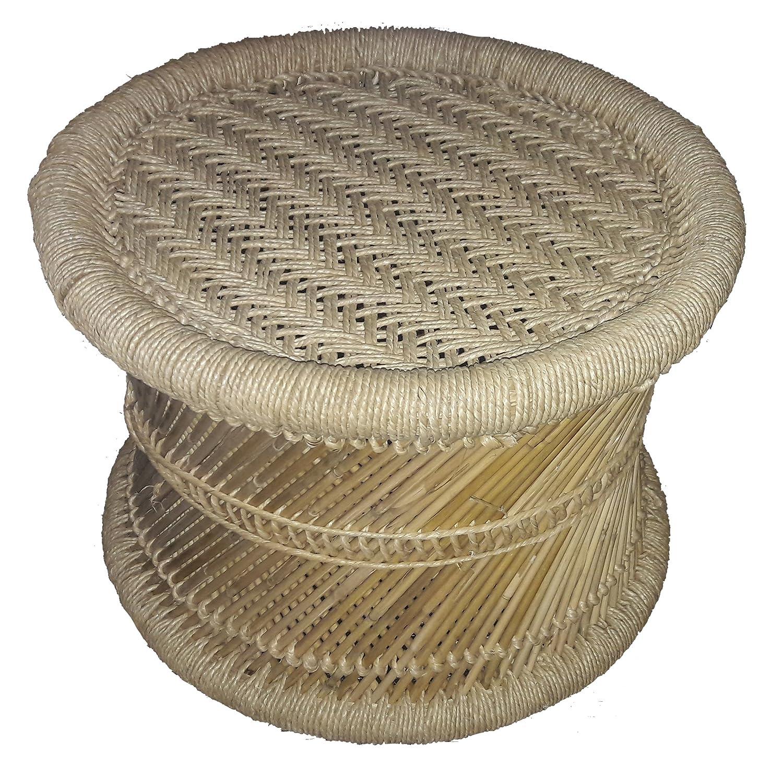 Pushkar Handicraft Bamboo Cane Bar Stool (Natural Look, Multicolour)