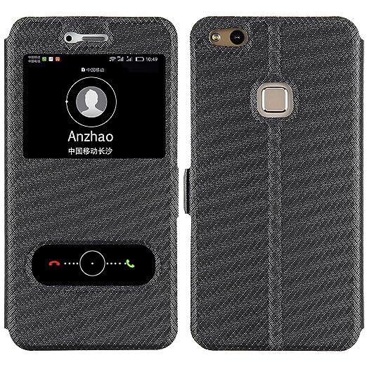 6 opinioni per Huawei P10 Lite Custodia , Anzhao Flip Cover [Chiusura magnetica] Con Finestra