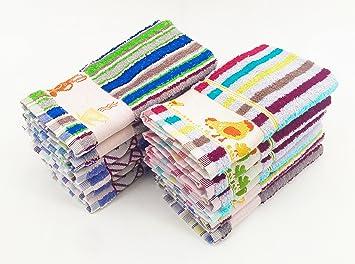 Imagen deZD Paños de Cocina RIZO 100% Algodón Multicolor Rayas Con Dibujo Bordado Pack 12 Toallas de Cocina