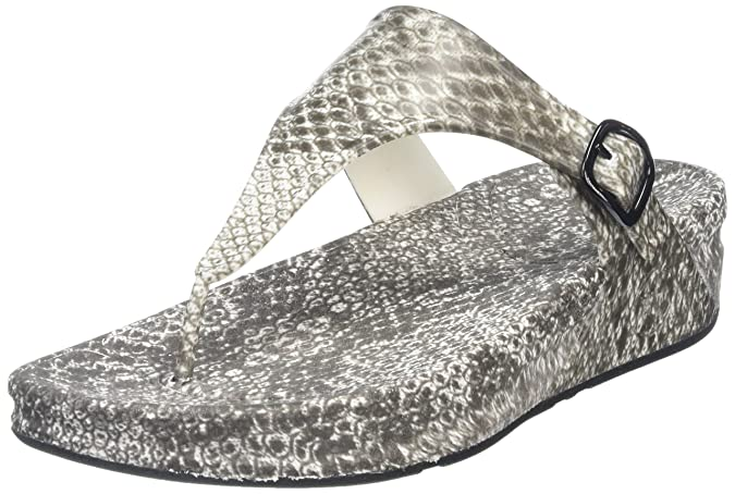 FitFlop Damen Superjelly (Snake) Offene Sandalen mit Keilabsatz, Mehrfarbig (Black/White), 38 EU
