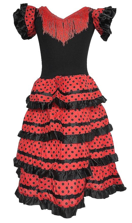 dc07799de La Senorita Vestido Flamenco Sevillana Español Traje de Flamenca chica niños  negro rojo Talla 4
