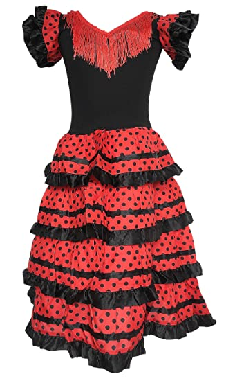 856a25f78b6c1 La Senorita Spanish Flamenco Dress Fancy Dress Costume - Girls/Kids - Black/ Red
