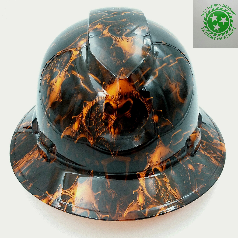 Wet Works Imaging Customized Pyramex Full Brim Orange Hell Raiser Hard Hat With Ratcheting Suspension