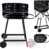 MP Essentials Barren Portable Charcoal Trolley Barbecue BBQ Outdoor Grill with Wheels - BLACK