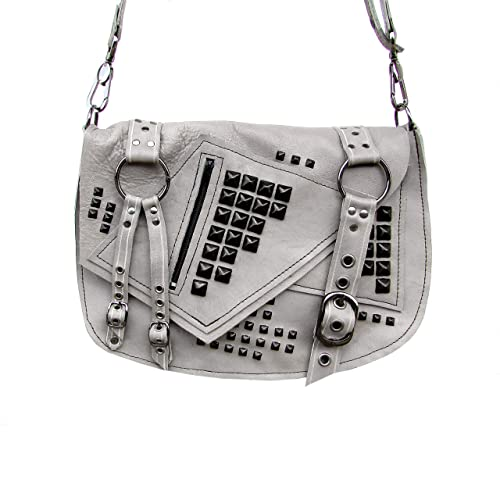 Image Unavailable. Image not available for. Color  Gray   Black Studded  Leather Crossbody Bag effaa5ff2c58f