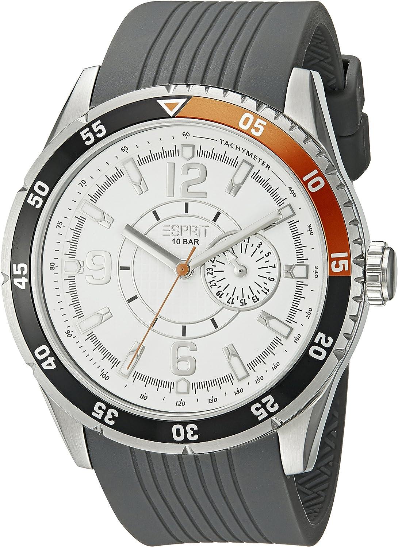 Esprit Varsity Orange ES104131001 - Reloj analógico de Cuarzo para Hombre, Correa de Goma Color Gris (Cifras luminiscentes)