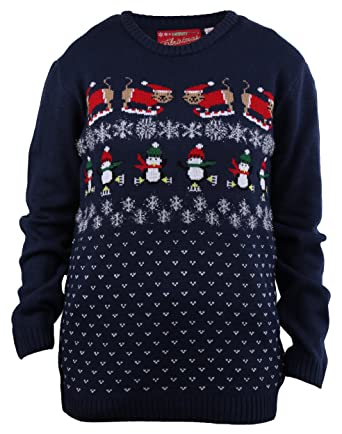 shineflow womens adult ugly christmas sweater cats skiing in snow pullover sweater - Adult Ugly Christmas Sweater