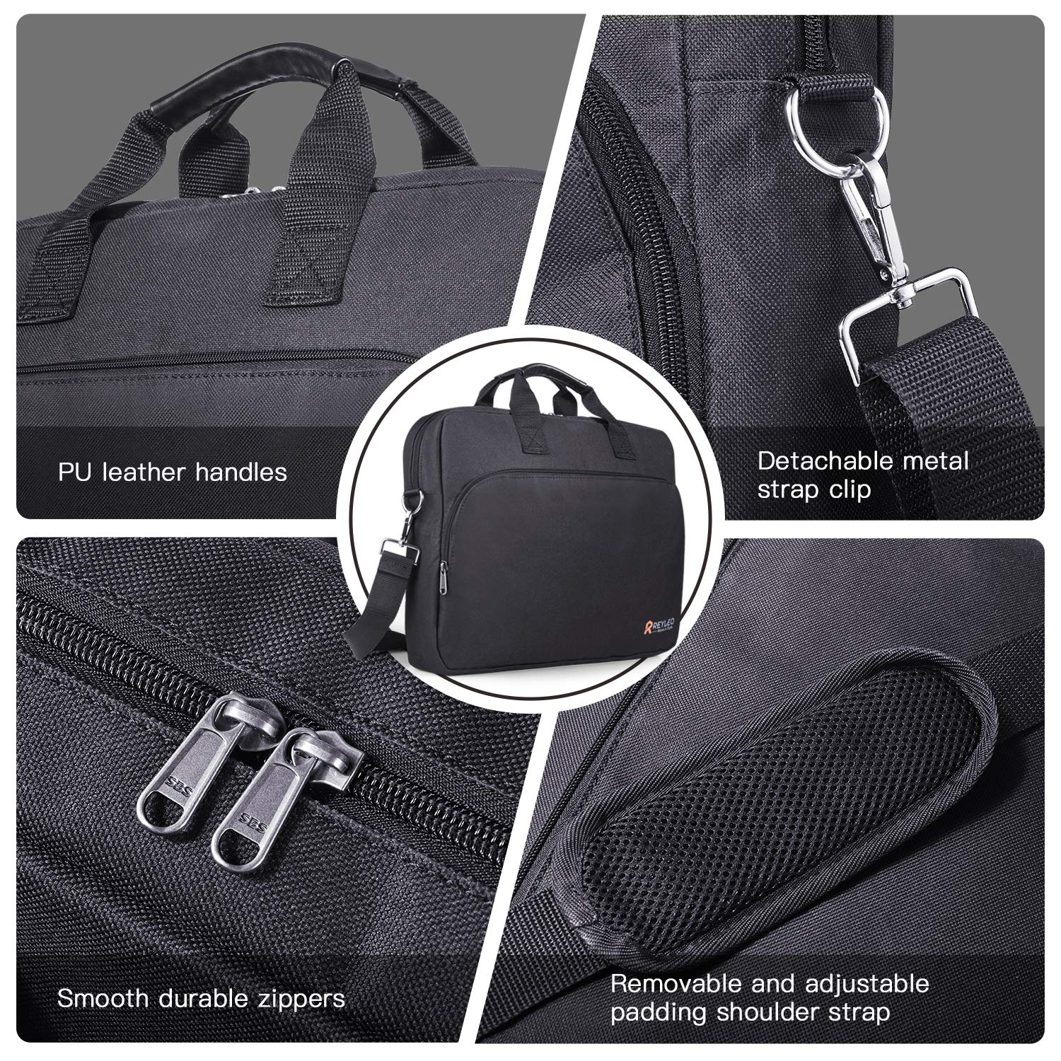 REYLEO 15.6 Inch Laptop Bag Travel Briefcase with Luggage Strap Water Resistant Shoulder Bag Business Messenger Briefcases for Men and Women Fits Laptop Computer Tablet, LCB1B by REYLEO (Image #3)