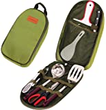 Camp Kitchen Utensil Organizer Travel Set - Portable 8 Piece BBQ Camping Cookware Utensils Travel Kit with Water Resistant Case|Cutting Board|Rice Paddle|Tongs|Scissors|Knife and Bottle Opener