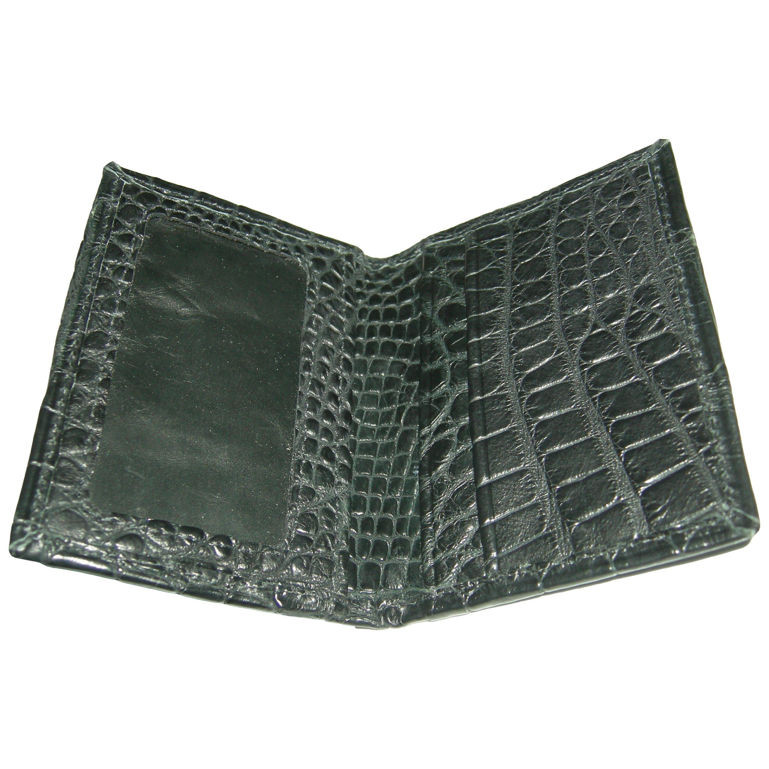 Sultan Genuine Alligator Men's Slim ID Bifold Wallet - Black Safari (Semi-Gloss) - One Size