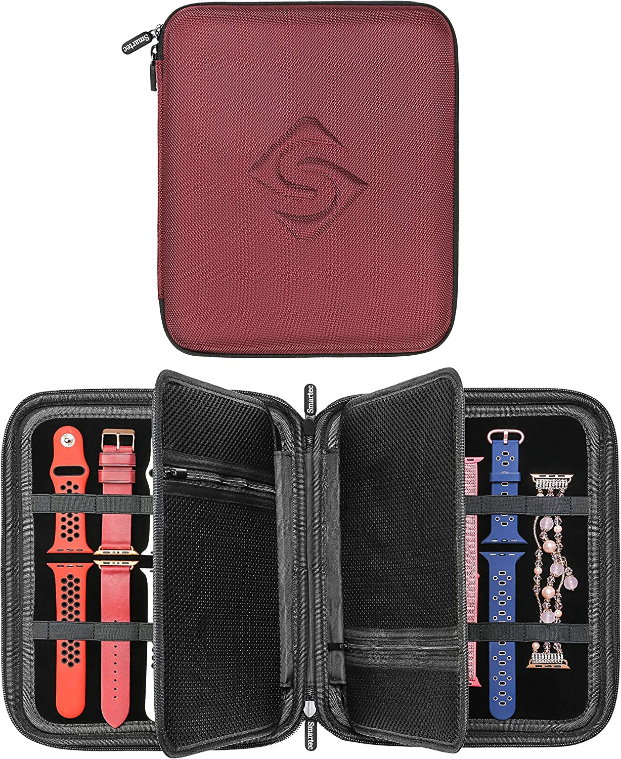 SMARTEC Smart Watch Bands & Accessories Travel/Storage Case, Stores 10+ Bands, Compatible for All Series of Apple Watch Bands (Burgundy)