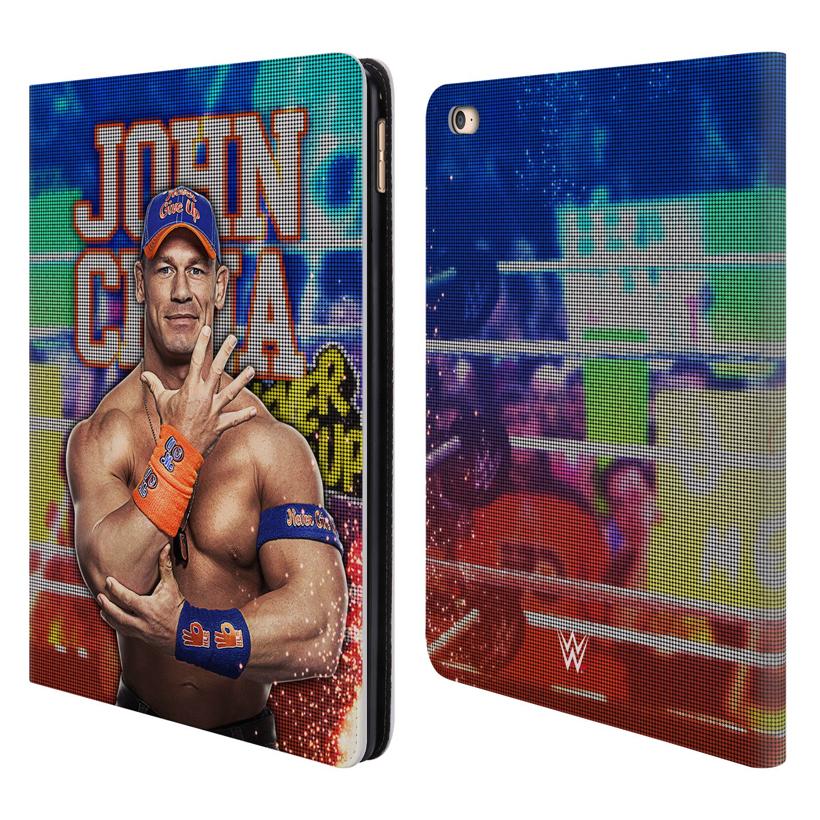 Official WWE LED Image 2017 John Cena Leather Book Wallet Case Cover Compatible for iPad Air 2 (2014)