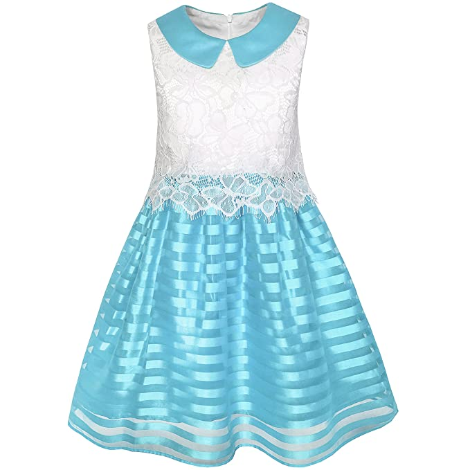KK26 Sunny Fashion Vestido para niña rojo Azul Encaje Raya Collar Fiesta Sol 10 años