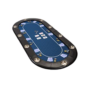 Riverboat Folding Poker Table Top In Blue Suited Speed Cloth   200cm
