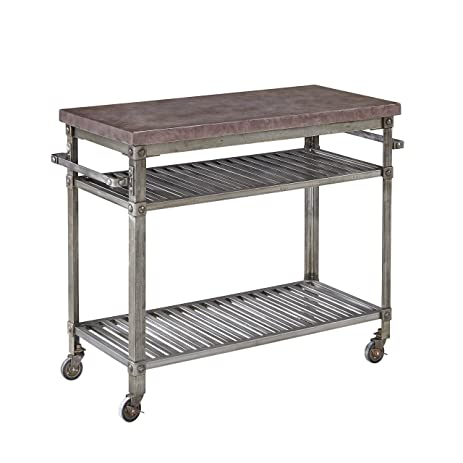 Home Styles 5570 9514 Urban Style Aged Metal Finish Kitchen Cart