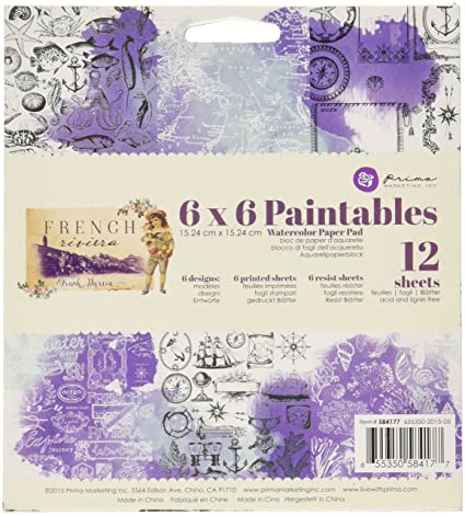 "Prima Marketing Paintables Watercolor Paper Pad 6/""X6/""  French Riviera"