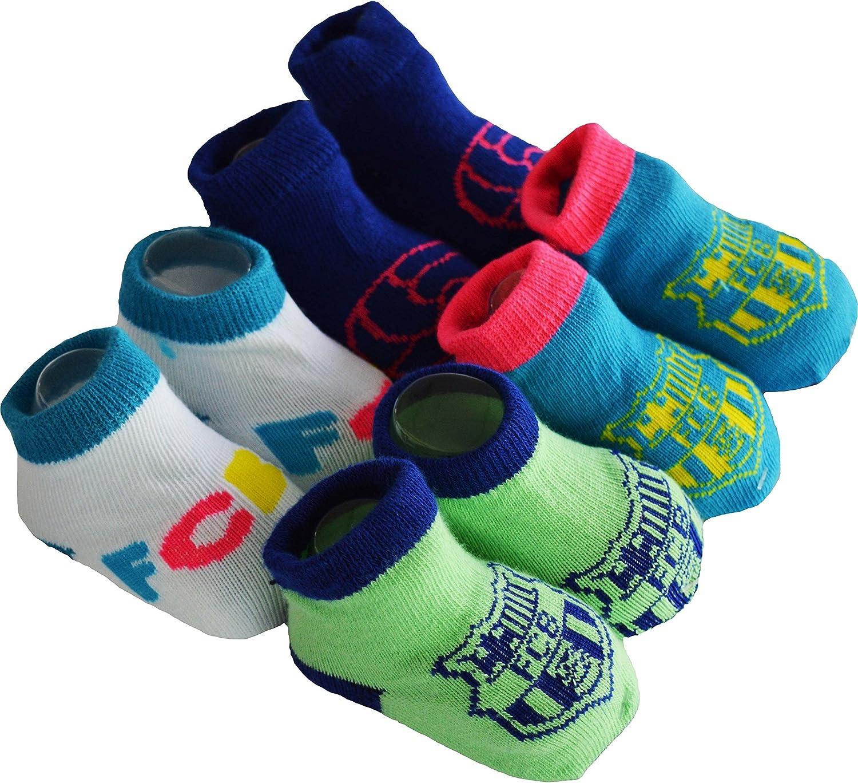 Regalo bebé–4pares de calcetines Barca–Colección oficial FC Barcelona–Talla bebé niño