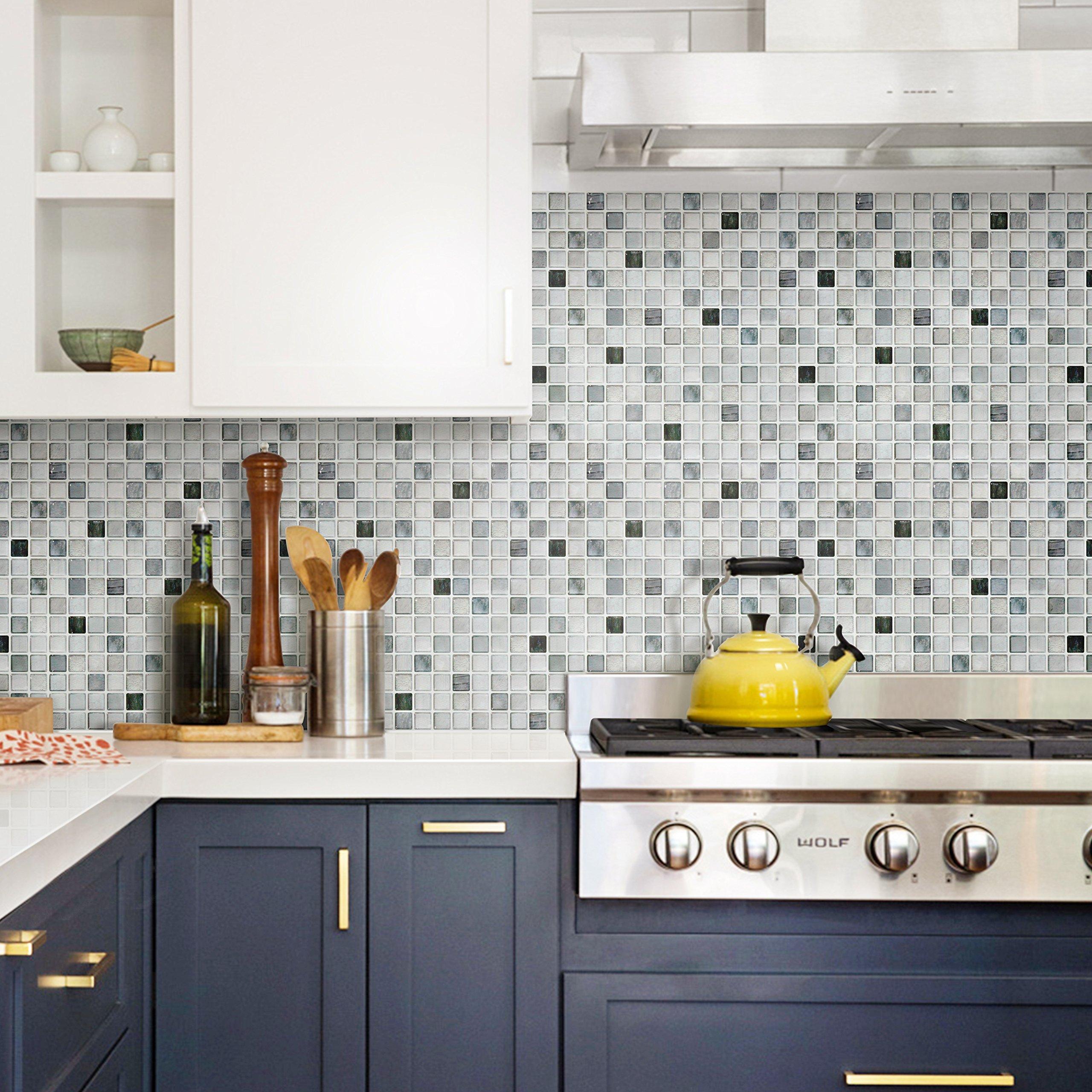 BEAUSTILE Decorative Tile Stickers Peel Stick Backsplash Fire Retardant Tile Sheet (Monocrome) (10, 12.2'' x 12.2'') by BEAUS TILE (Image #7)