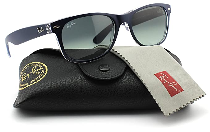 307442e888b Amazon.com  Ray-Ban RB2132 605371 Matte Blue on Transparent Frame   Grey  Gradient Lens 52mm  Clothing