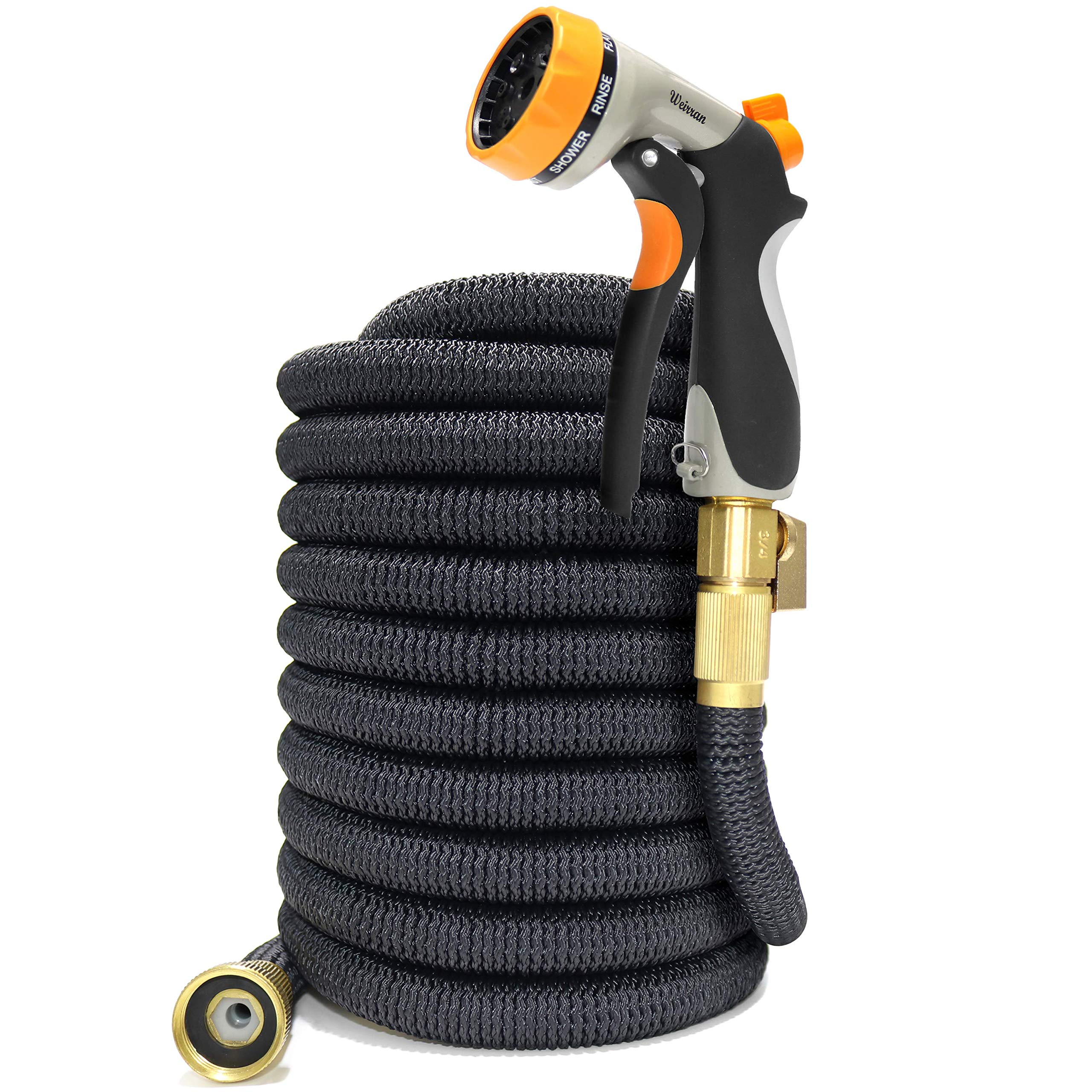 50ft Expandable Garden Hose with 8 Pattern Hose Nozzle - 3/4'' Solid Brass Fittings with Protective Washer No Leak & Rust - Portable Storage Bag Easy Carry and Use Muti-Function Sprayer