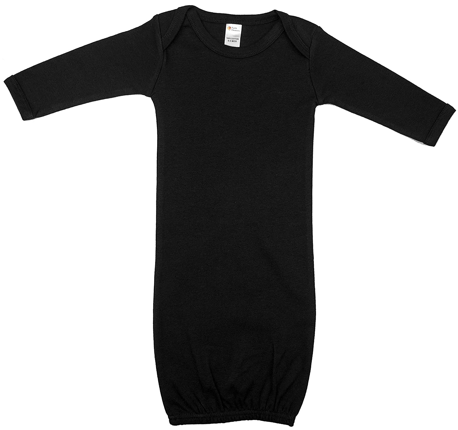 Amazon.com: Earth Elements Baby Long Sleeve Gown 0-3 Months Black ...