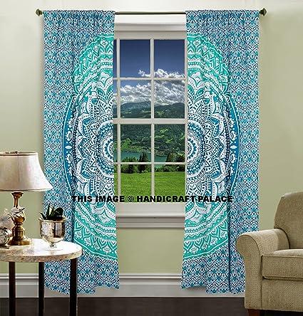 Mint Green Ombre Mandala Tapestry Curtain Indian Art 2 Valances Drape Panel Set Boho Decor Window