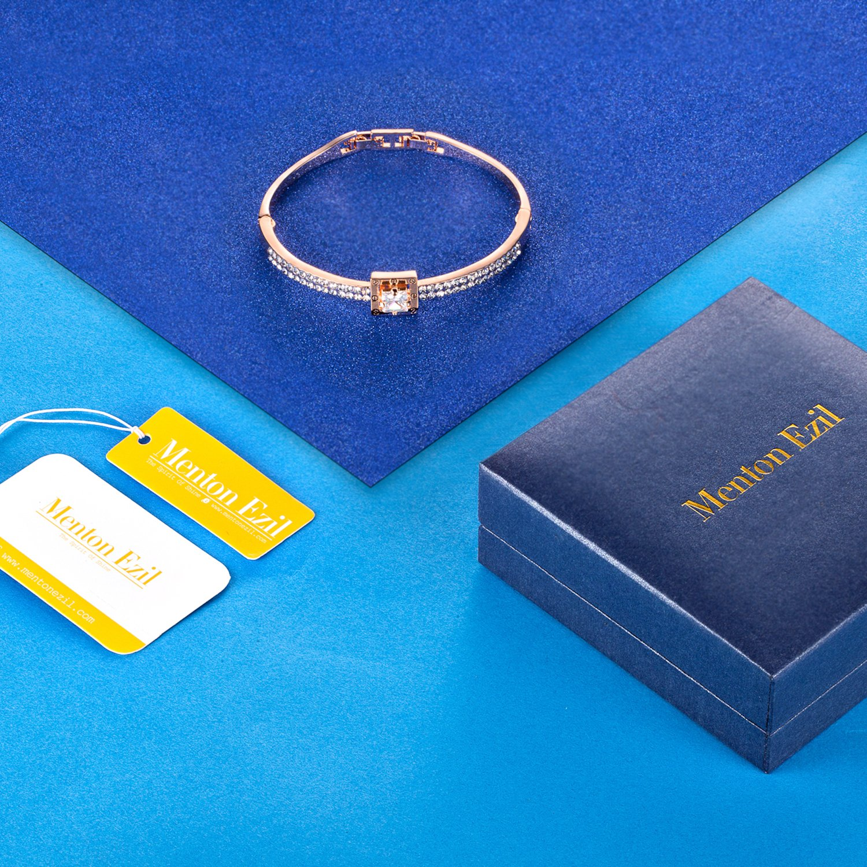 Menton Ezil Princess Crystal Bracelet Rose Gold Luxury Jewelry Adjustable Bangle Bracelets for Womens Girls Wife Anniversary Fashion Collections Loves Design by Menton Ezil (Image #6)