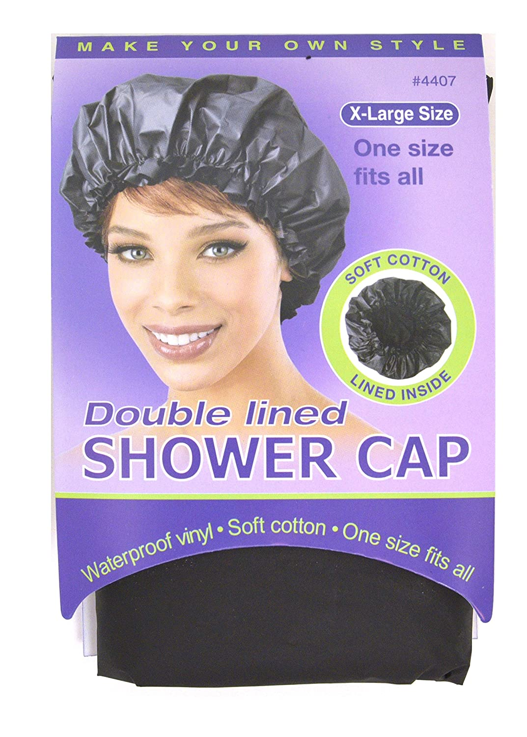 Annie Double Lined Shower Cap Black Extra Large #4407
