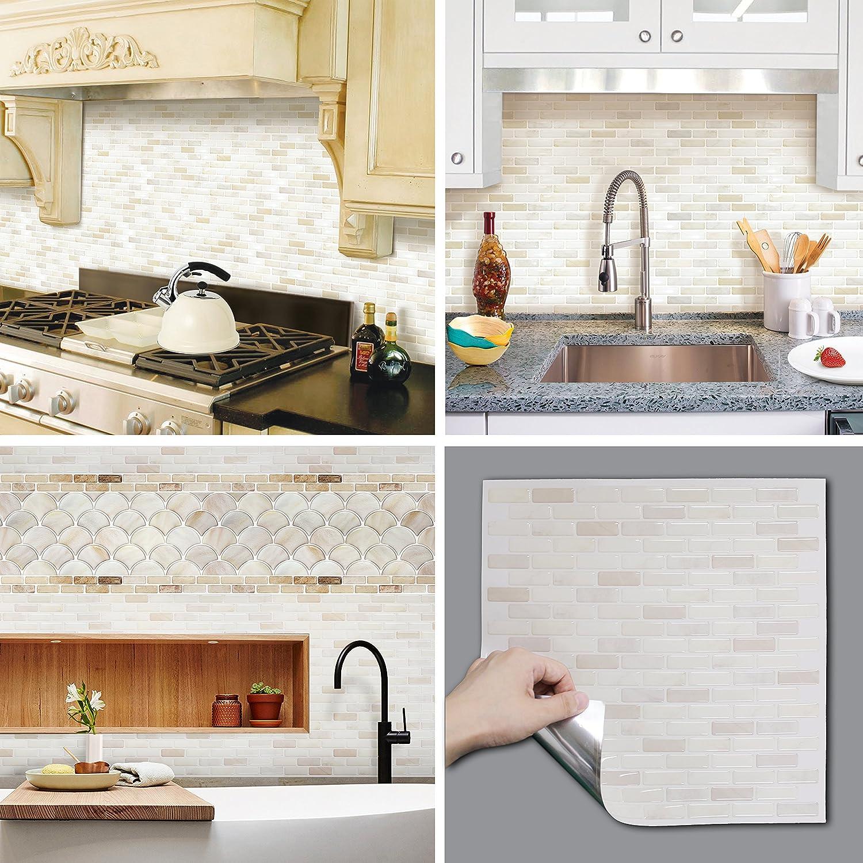 BEAUS TILE Decorative Tile Stickers Peel and Stick Backsplash Fire Retardant Tile Sheet (White Brick) (2, 5.28