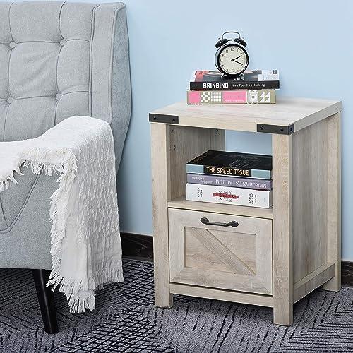 HOMCOM Industrial Side Table with 1 Drawer 1 Open Shelf, Retro End Desk with Big Tabletop for Living Room Bedroom Dorm, Oak