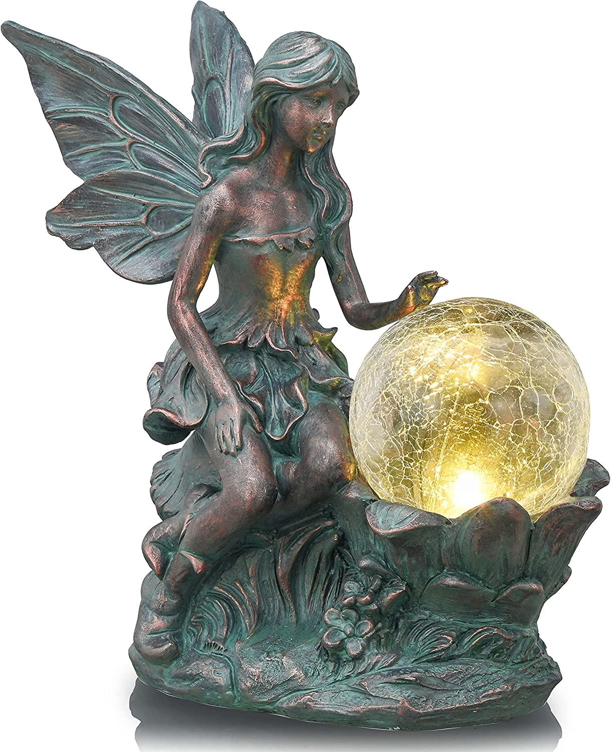 TERESA'S COLLECTIONS Large Fairy Garden Statue and Sculpture with Solar Powered Lights, Garden Angel Figurines with Crackle Glass Globe, Garden Art for Outdoor Lawn Yard Decorations, 11.8 inch Tall