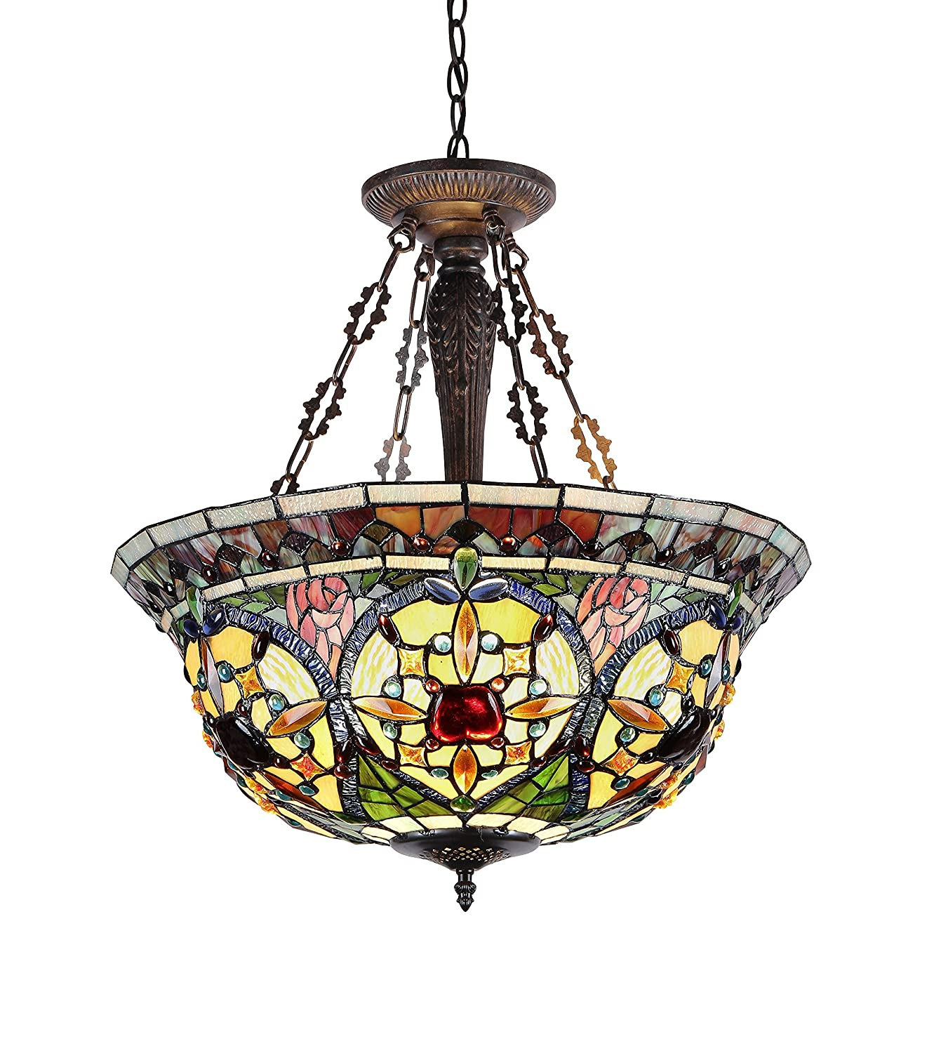 Chloe Lighting CH33391VG22-UH3 Tiffany-Style Victorian 3 Light Inverted Ceiling Pendant 22-Inch Shade, Multi-Colored