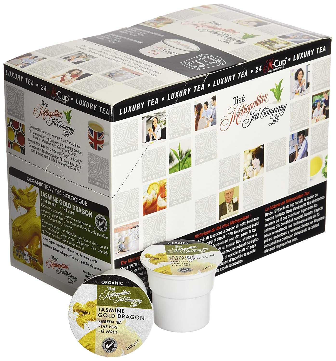 Amazon.com : Metropolitan Organic Jasmine Gold Dragon Tea M Cup - 24 count : Grocery & Gourmet Food