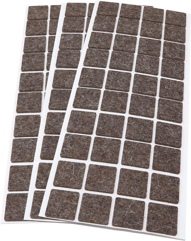 autoadhesivos 3 mm de grosor 120 deslizadores de fieltro de lana cuadrados color marr/ón 25 x 25 mm Adsamm/®