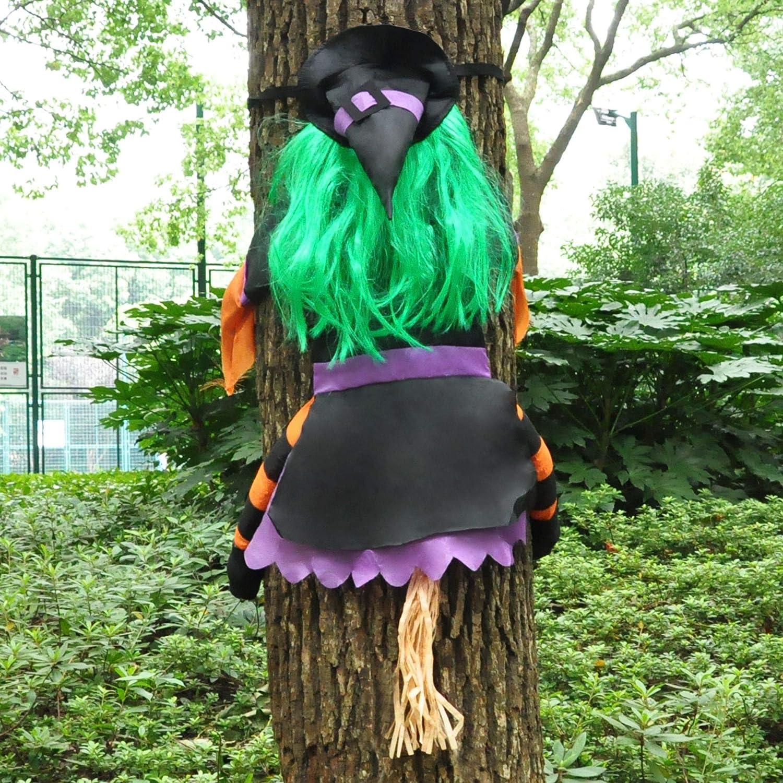 JOYIN Crashing Witch Into Tree Green Halloween Outdoor Tree Trunks or Pillars Decor Halloween Decoration
