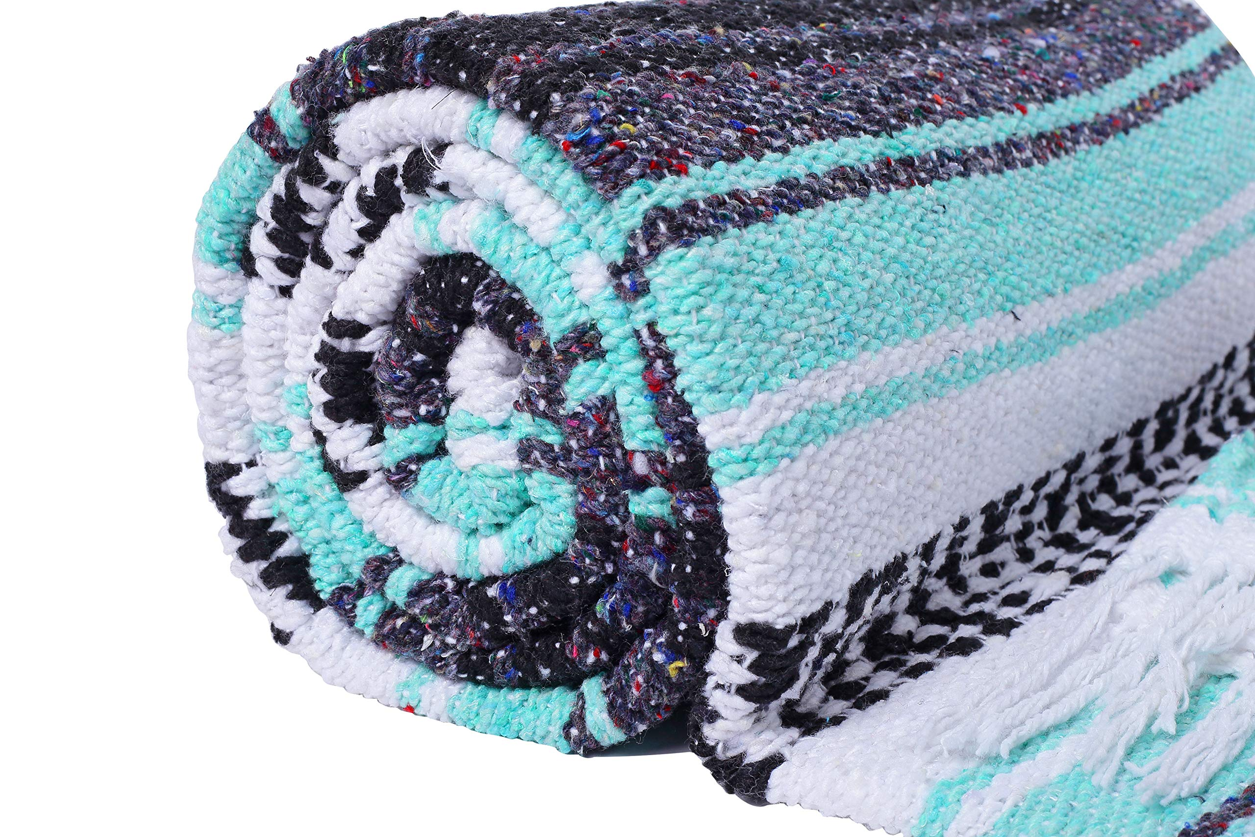 El Paso Designs Genuine Mexican Falsa Blanket - Yoga Studio Blanket, Colorful, Soft Woven Serape Imported from Mexico (Cool Mint & Gray) by El Paso Designs (Image #5)