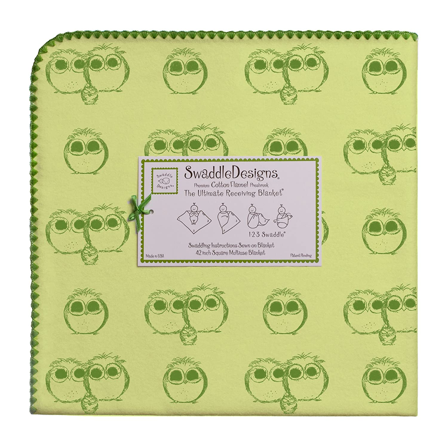 Premium Cotton Flannel Made in USA Pure Green X-Large Receiving Blanket Moms Choice Award Winner SwaddleDesigns Ultimate Swaddle Jewel Tone Owls