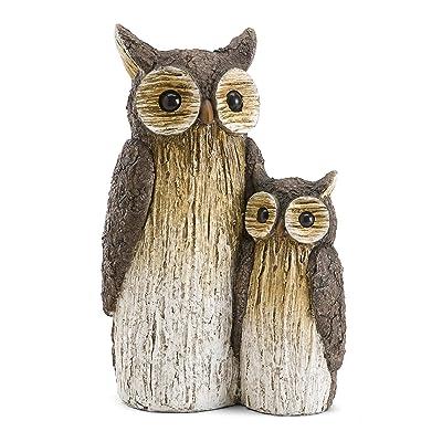 Wind & Weather Mother and Baby Owl Garden Statue : Garden & Outdoor