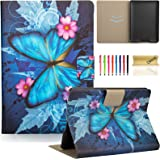 """Dteck Folio Case for Fire HDX 7 - Ultra Thin Lightweight PU Leather Flip Stand Case with Auto Wake/Sleep Function Smart Cover for Amazon Kindle Fire HDX 7"""" 2013, Blue Butterfly"""