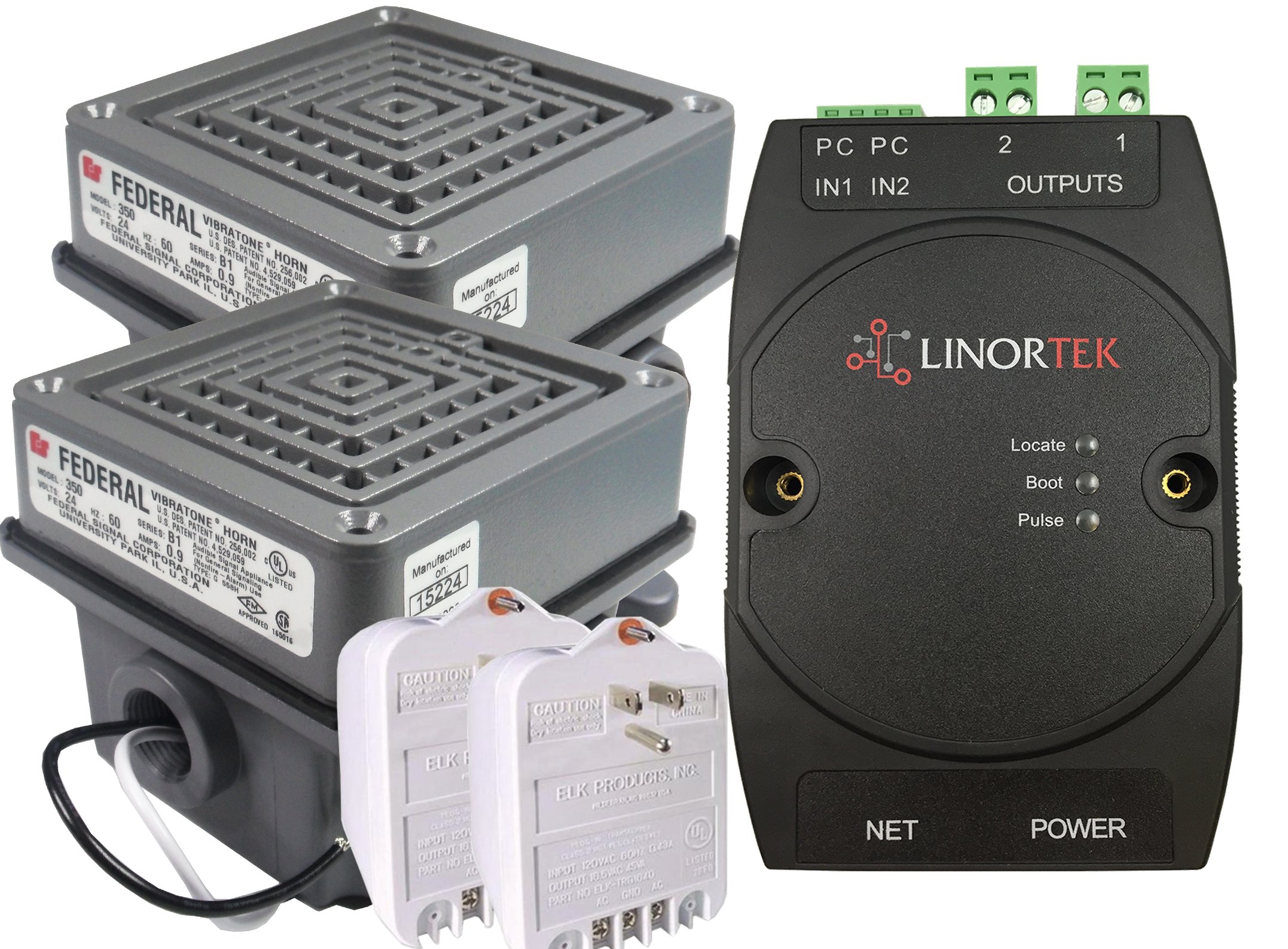 Netbell-2-2Buz TCP/IP Web-based Buzzer Kit with Two Federal Signal 350-024-30 Vibratone Horns for Factory / Warehouse Automatic Break Time Buzzer System with Up to 500 Schedules POE Enabled by Linortek (Image #1)