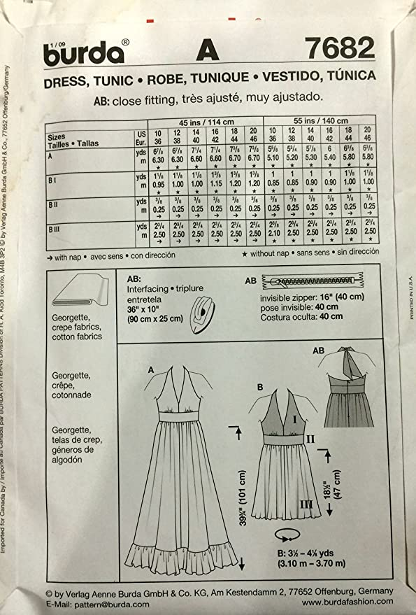 Amazon.com: Burda 7682 Sewing Pattern Dress Tunic Sizes 10-20: Kitchen & Dining