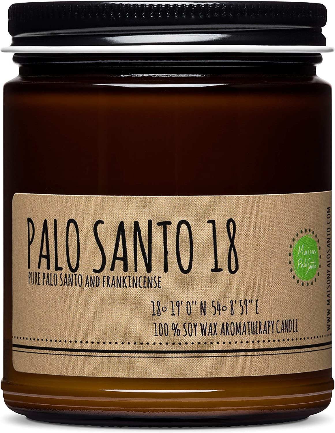 Maison Palo Santo Soy Wax Candle - Palo Santo and Frankincense Natural Scented Candle for Aromatherapy, Negative Energy Cleansing, Chakra Balancing and Meditation, 9 oz
