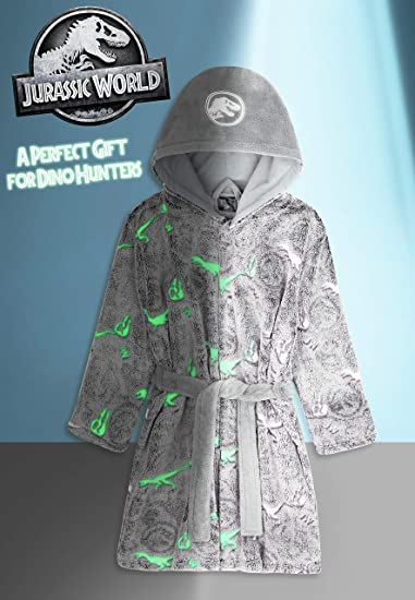 Gifts for Boys Girls Teens Age 4-14 Super Soft Children Robes Glow in The Dark Boys Dressing Gown with Hood and Belt Jurassic World Dressing Gown for Kids