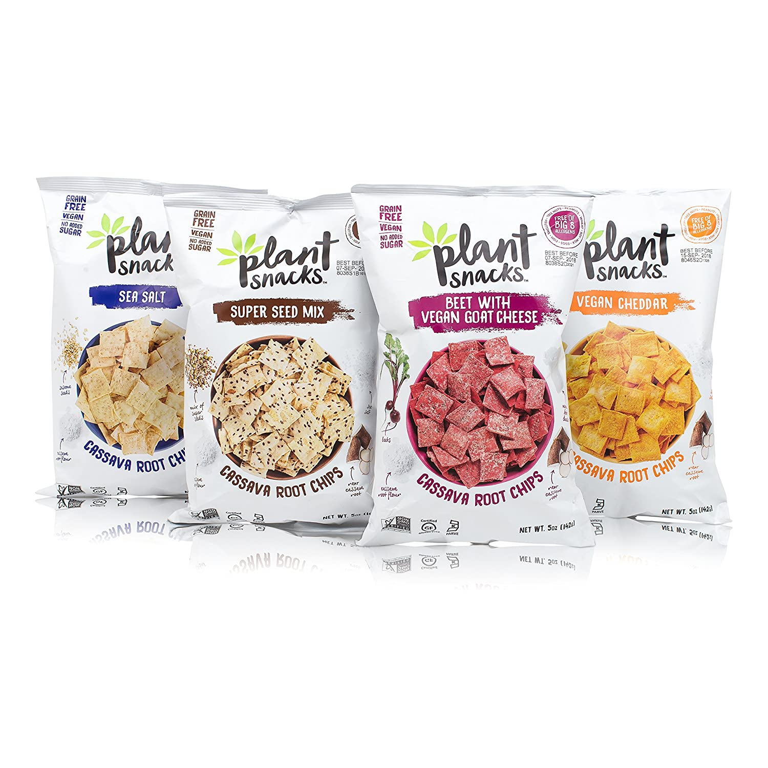 Plant Snacks Variety Pack - Cheddar, Sea Salt, Beet with Goat Cheese, Super Seeds Cassava Root Chips, Vegan, Big-8 Allergen Free, Non-GMO, Gluten and Grain Free, No Added Sugar, 5 oz Bags, Pack of 4