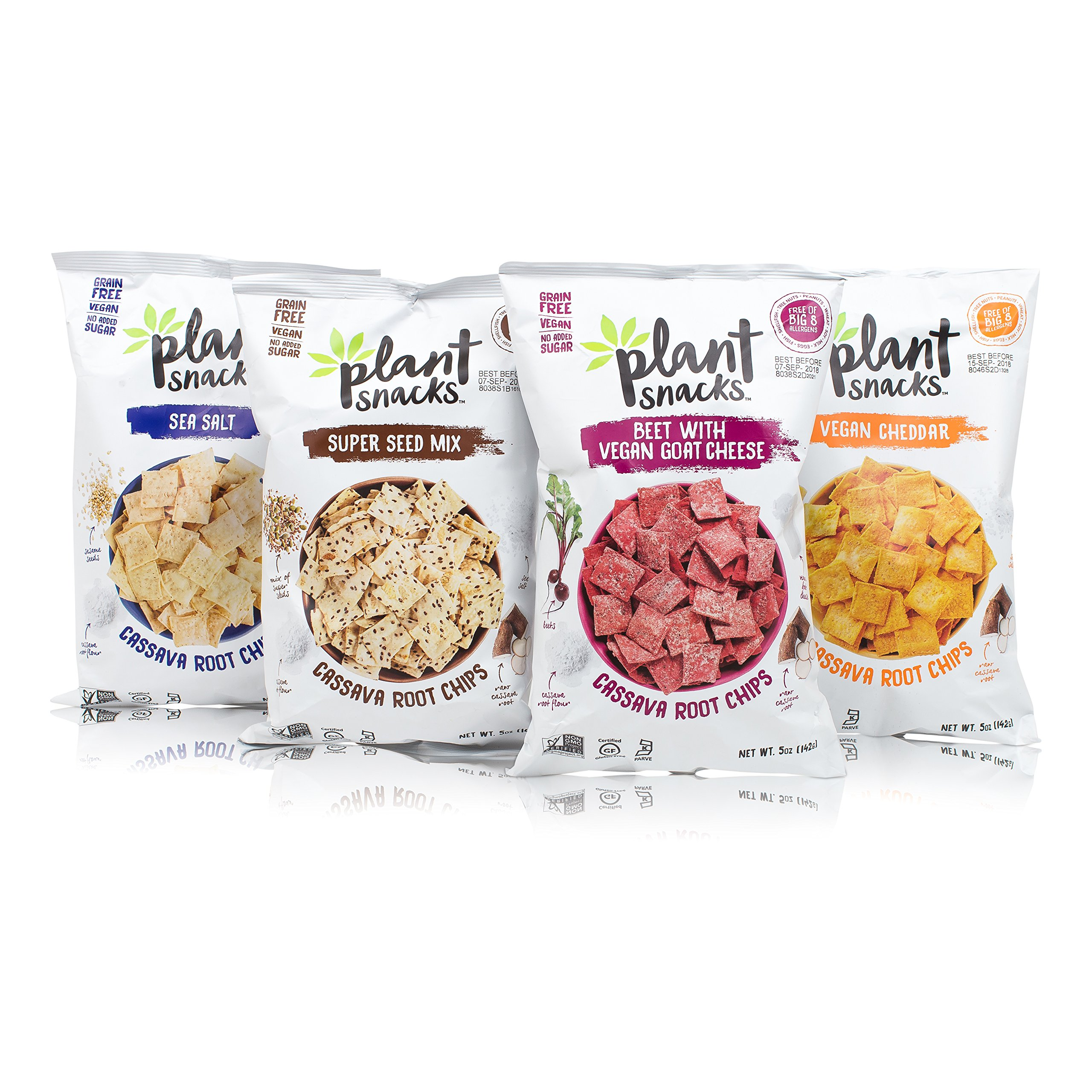 Plant Snacks Variety Pack - Cheddar, Sea Salt, Beet with Goat Cheese, Super Seeds Cassava Root Chips, Vegan, Big-8 Allergen Free, Non-GMO, Gluten and Grain Free, No Added Sugar, 5 oz Bags, Pack of 4 by Plant Snacks