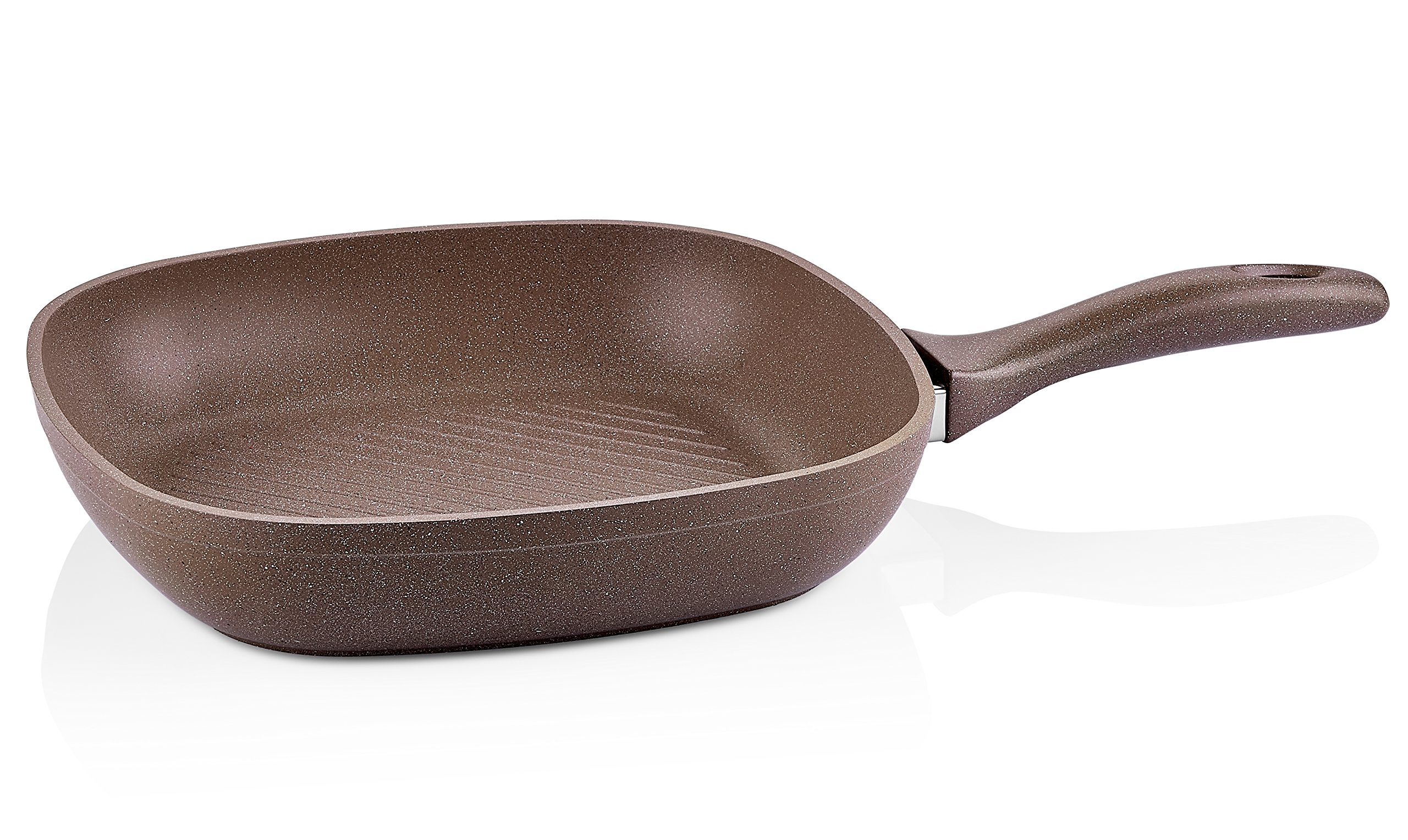 Granite Grill Pan Non-Stick 11-Inch | Scratch-Resistant Forged Aluminum w/ QuanTanium Coating | Even Heating Cooking Dishware | Includes Storage Bag